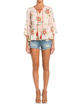 Miss Me Women's Island Fever Peasant Top, Light Pink, hi-res
