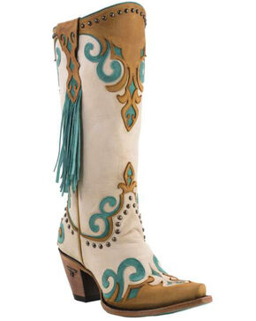 Lane Women's Royal Side Fringe Western Boots, Cream, hi-res