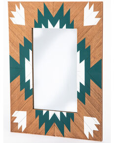 BB Ranch Aztec Wood Mirror, Turquoise, hi-res