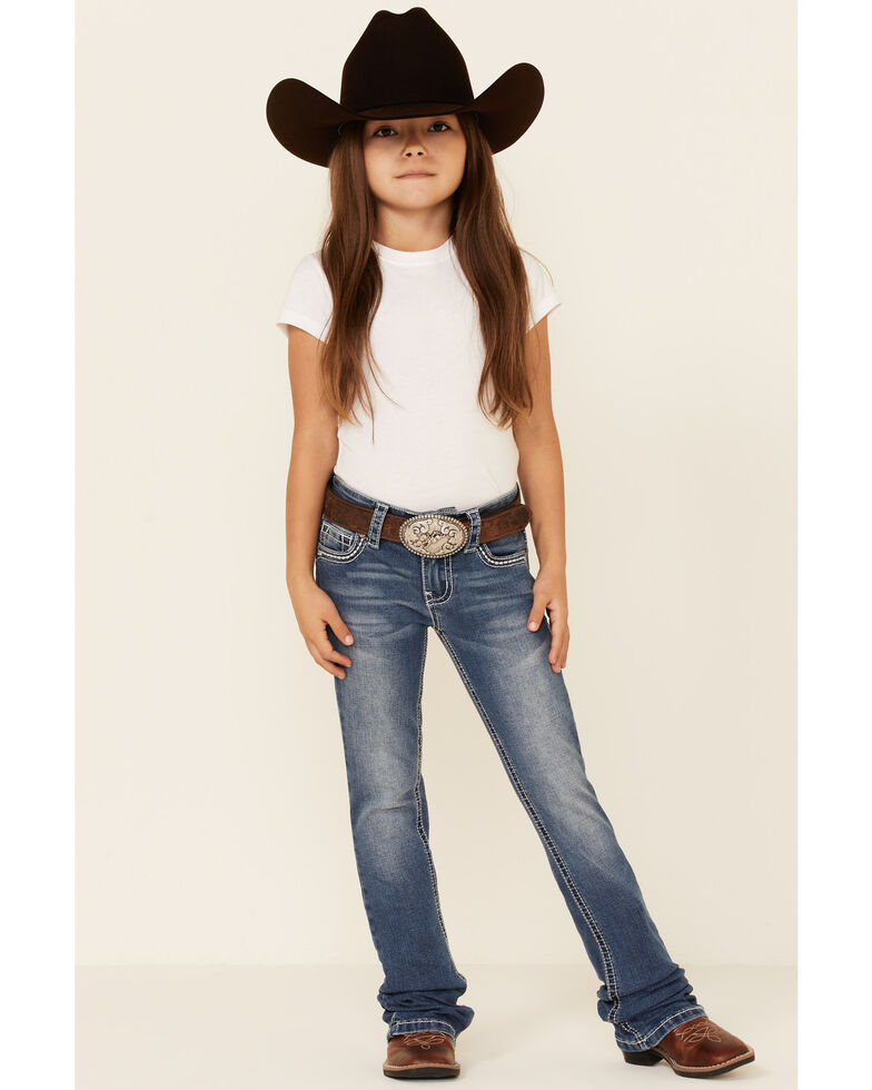 Shyanne Girls' Medium Wash Embroidered Star Pocket Embroidered Star Pocket Regular Bootcut Jeans - Little, Blue, hi-res