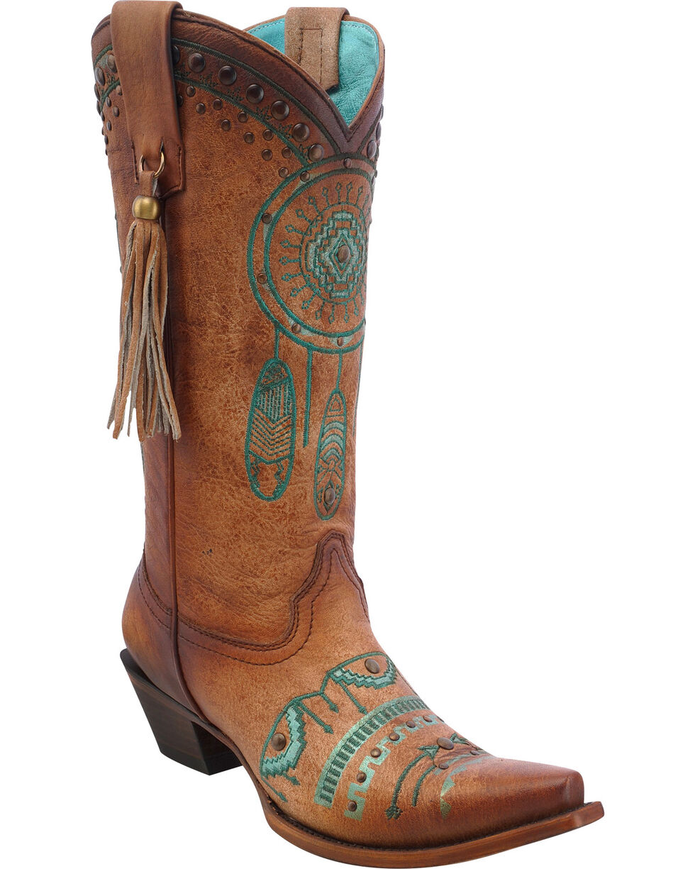 Corral Women's Dreamcatcher Western Boots, Tan, hi-res