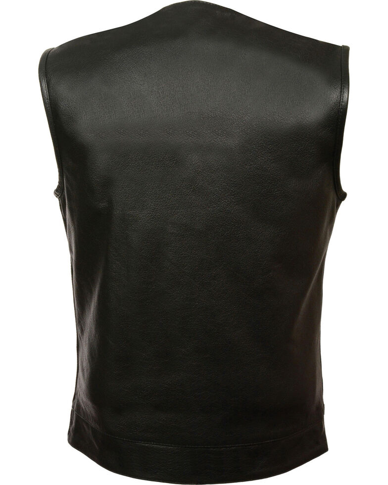 Milwaukee Leather Men's Black Collarless Zip Front Club Style Vest - Big 4X, Black, hi-res