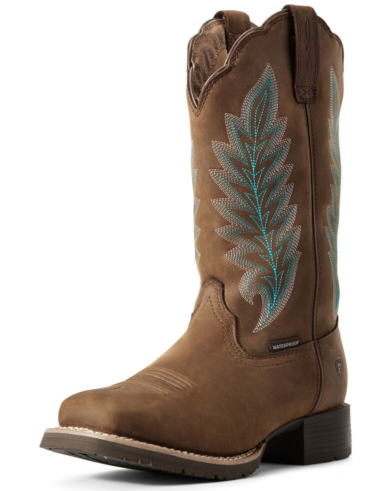 Ariat Women's Hybrid Rancher Waterproof Western Boots - Wide Square Toe, Brown, hi-res