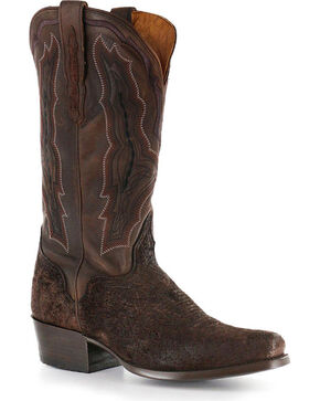 El Dorado Men's Genuine Sueded Hippo Western Boots, Chocolate, hi-res