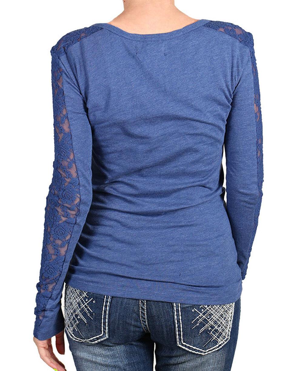 Shyanne® Women's Lace Sleeve Panel Henley, Blue, hi-res