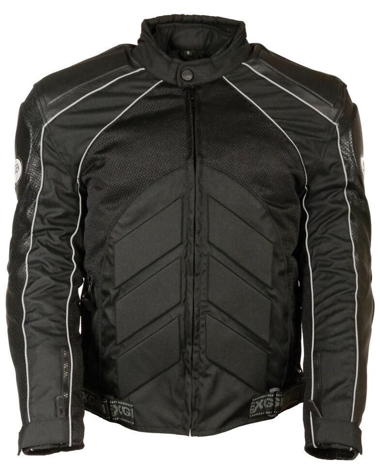 Milwaukee Leather Men's Combo Leather Textile Mesh Racer Jacket, Black, hi-res