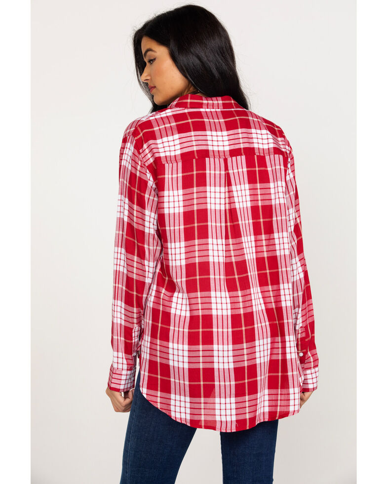 Wrangler Women's Red Plaid Long Sleeve Western Shirt, Red, hi-res