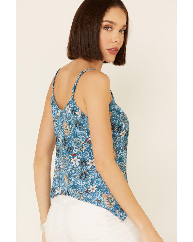 Shyanne Women's Blue Floral Print Tie-Front Cami , Blue, hi-res