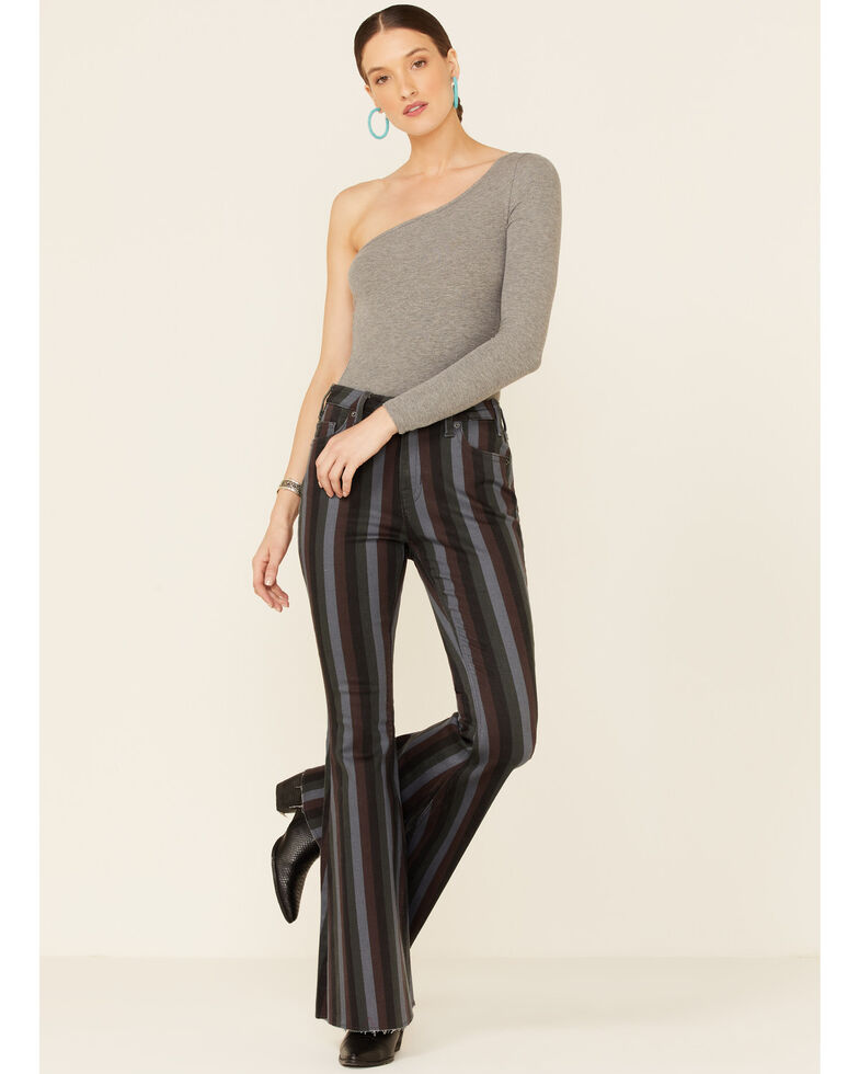 Panhandle Women's Striped High Rise Flare Jeans , Multi, hi-res