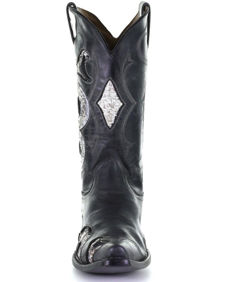 Corral Men's Black Python Inlay Western Boots - Snip Toe, Black, hi-res