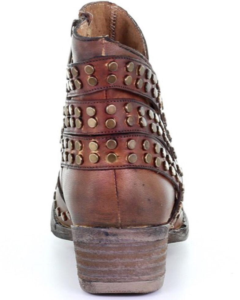 Corral Women's Cognac Zipper & Studs Fashion Booties - Round Toe, Cognac, hi-res