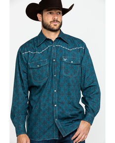 Cowboy Hardware Men's Rosette Geo Print Long Sleeve Western Shirt , Teal, hi-res