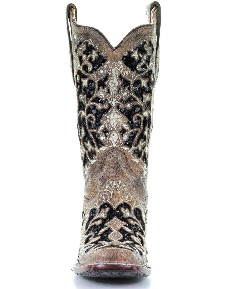 8fe40b8c69f Corral Women's Black Sequin Inlay Western Boots - Square Toe