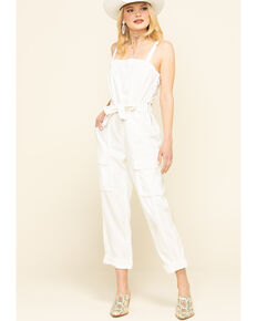 Free People Women's Go West Utility Jumpsuit , White, hi-res