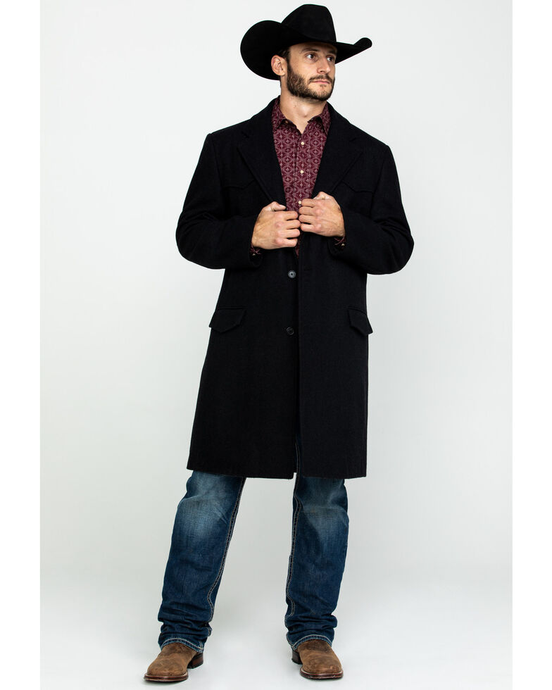 Cripple Creek Men's Black Wool Melton Overcoat , Black, hi-res