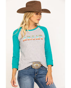 Ariat Women's R.E.A.L. Turquoise Logo Baseball Tee, Turquoise, hi-res