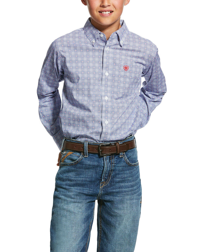 Ariat Boys' Glaston Multi Geo Print Long Sleeve Western Shirt , Blue, hi-res