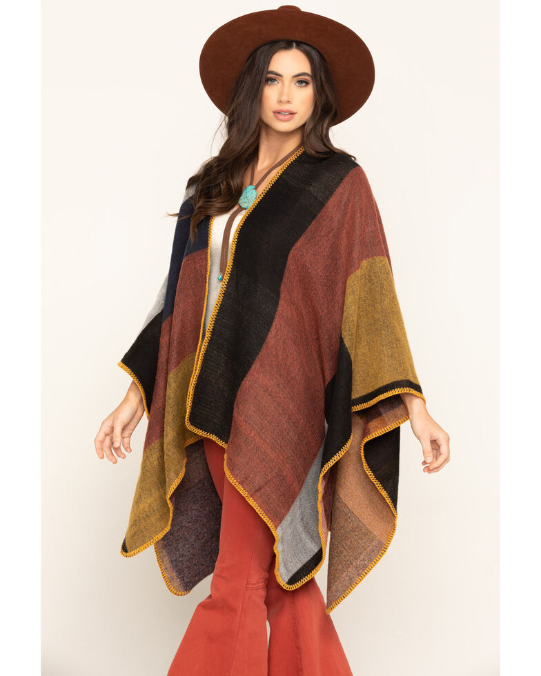 San Diego Hat Co. Women's Colorblock Poncho, Multi, hi-res