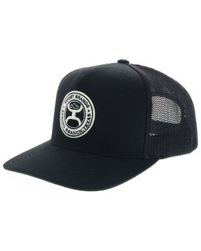 HOOey Men's Black Guadalupe Circle Patch Mesh Cap, Black, hi-res