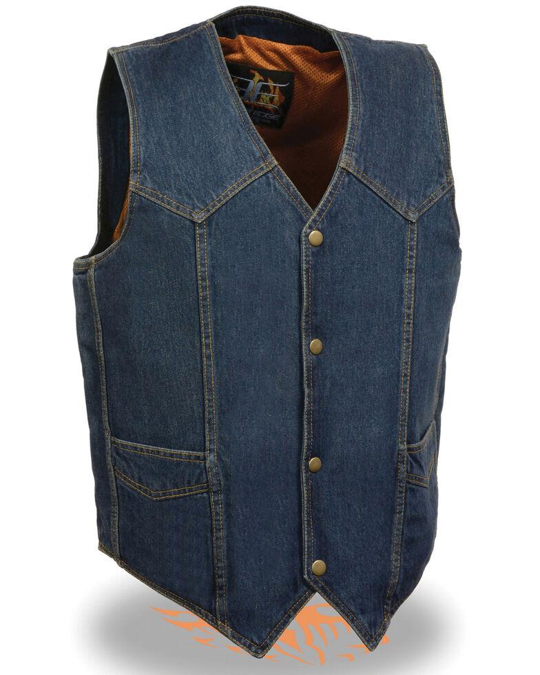 Milwaukee Leather Men's Classic Snap Front Denim Biker Vest, Blue, hi-res