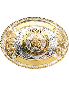 """AndWest """"Texas Ranger"""" Gold and Silver Plate Belt Buckle , Two Tone, hi-res"""