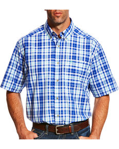 Ariat Men's Pro Series Moudy Plaid Short Sleeve Button Down Shirt, White, hi-res