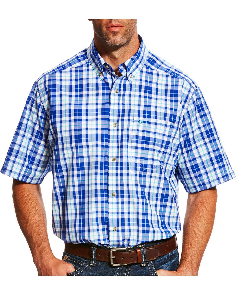 Ariat Men's Pro Series Moudy Plaid Short Sleeve Button Down Shirt, White, hi-res