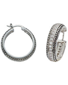 Montana Silversmiths Women's Crystal Hoop Earrings, Silver, hi-res