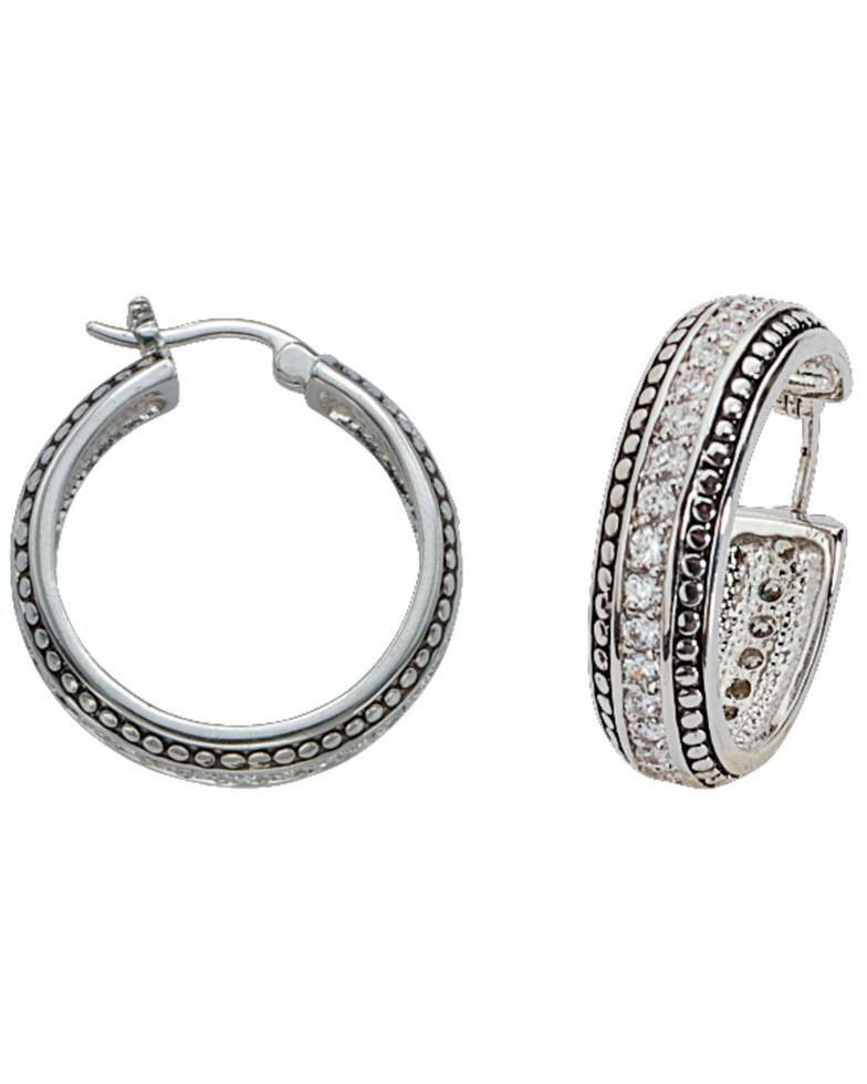 Montana Silversmiths Women's Crystal Hoop Earrings, Silver, hi-res