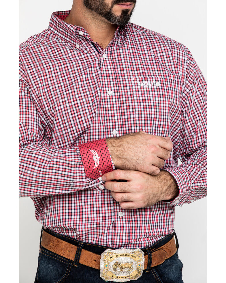Ariat Men's Red Relentless Built Stretch Plaid Long Sleeve Western Shirt , Red, hi-res