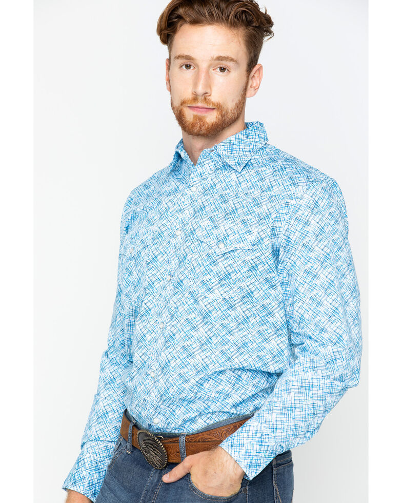 Wrangler 20X Men's Advanced Comfort Poplin Print Long Sleeve Western Shirt , Blue, hi-res