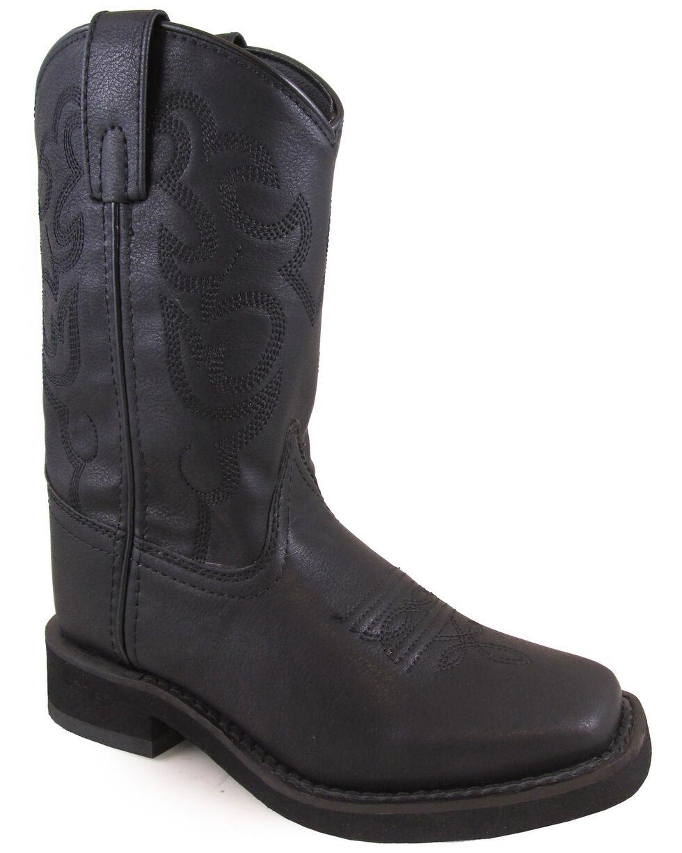 Swift Creek Youth Boys' Roper Western Boots - Square Toe, Black, hi-res