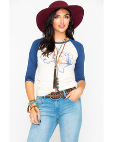Rock & Roll Cowgirl Women's Texas State Graphic Baseball Tee, Navy, hi-res