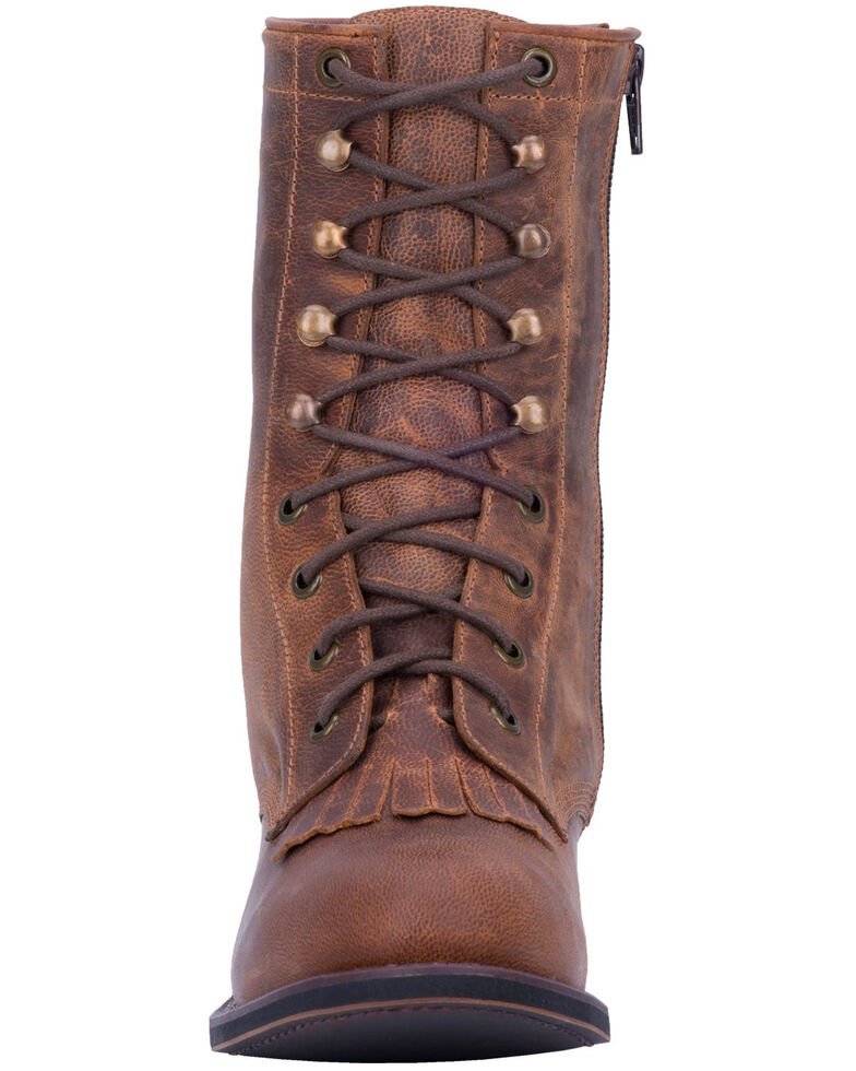 Laredo Women's Sara Rose Lace-Up Western Boots - Round Toe, Tan, hi-res