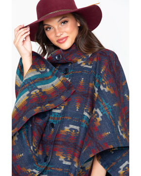 Pendleton Women's Aztec Button Front Chaparral Cape , Blue, hi-res