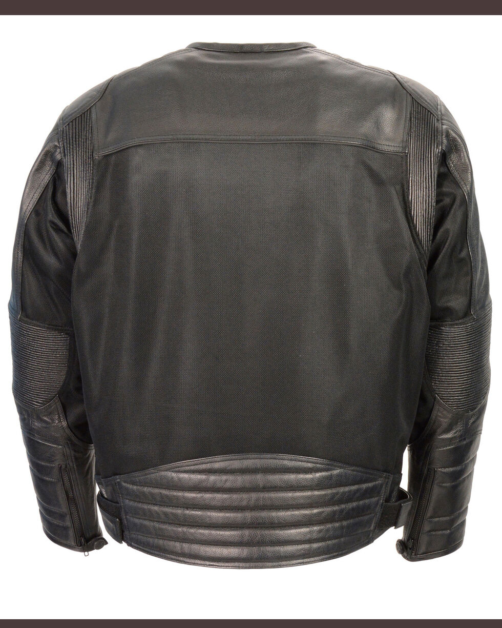 Milwaukee Leather Men's Black Leather & Mesh Racer Jacket with Removable Rain Jacket Liner - 3X, Black, hi-res