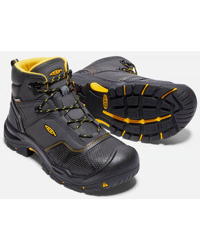 "Keen Men's Logandale 6"" Waterproof Work Boots - Steel Toe, Black, hi-res"