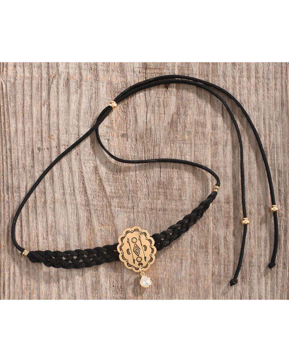 Gemelli Jewelry Women's Black Suede Concho Choker, Black, hi-res