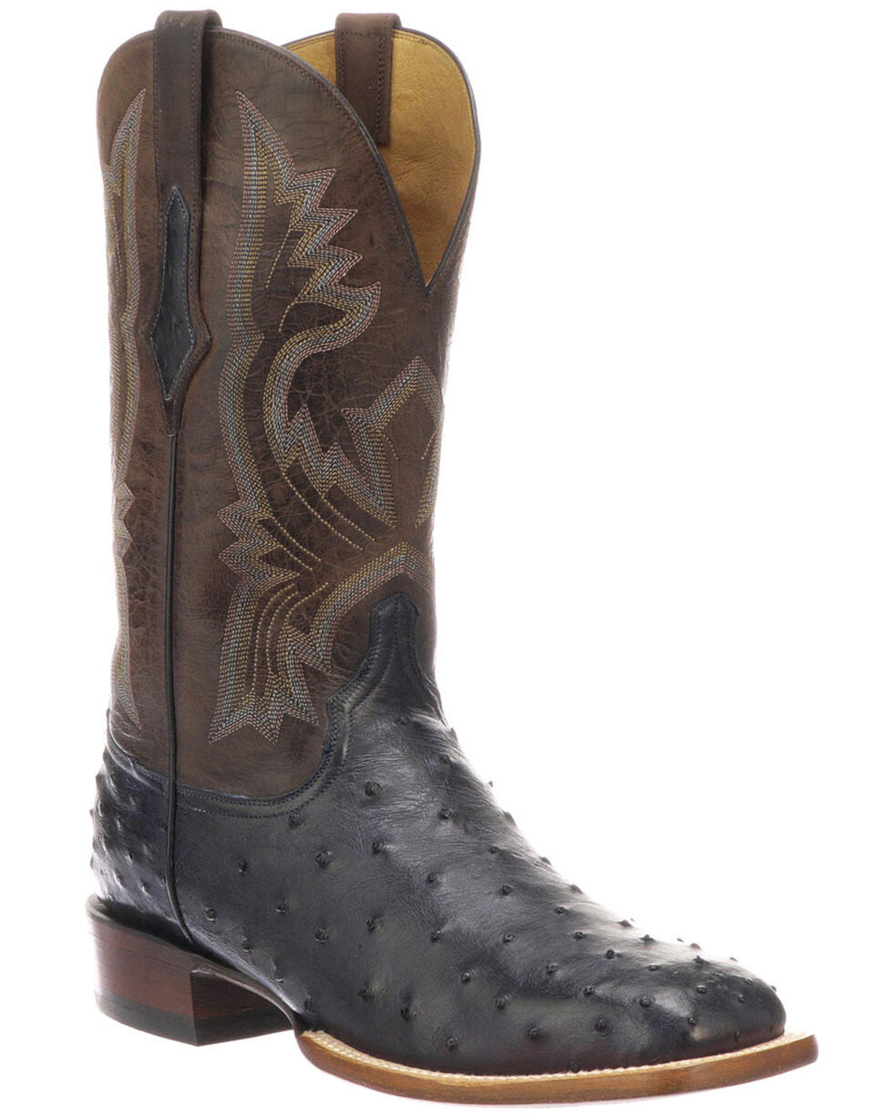 Lucchese Men's Cliff Exotic Western Boots - Square Toe, Navy, hi-res