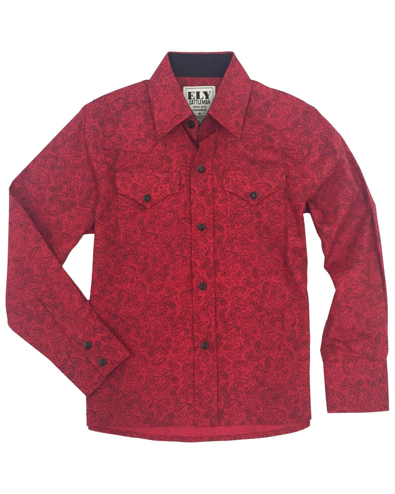 Ely Cattleman Boys' Red Paisley Print Long Sleeve Western Shirt , Red, hi-res