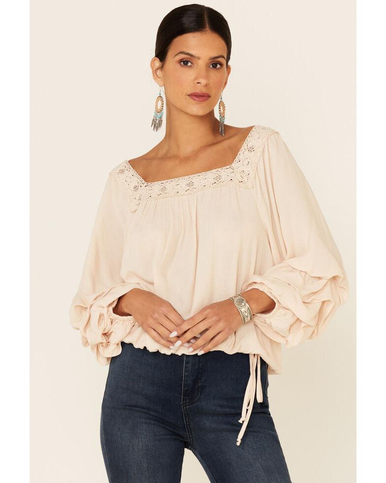 Luna Chix Women's Cream Square Neck Ruffle Long Sleeve Peasant Top , Ivory, hi-res