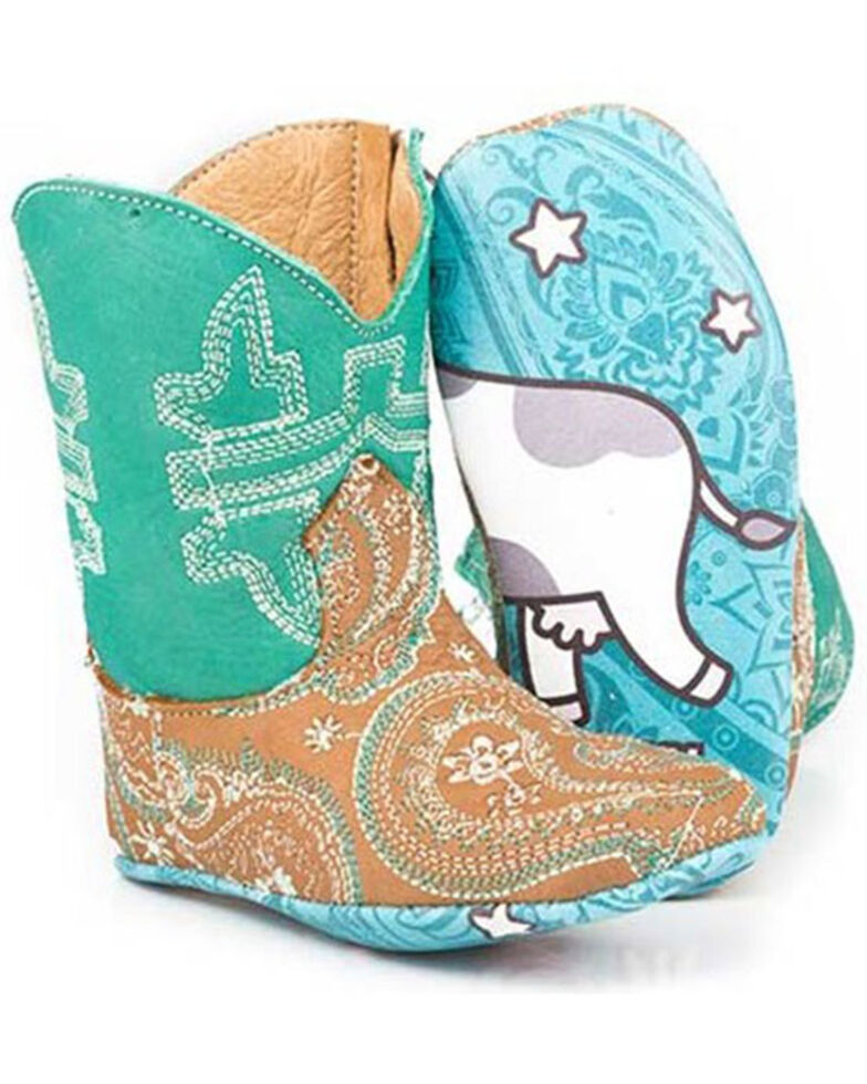 Tin Haul Infant Girls' Lil Paisley Poppet Boots - Square Toe, Brown, hi-res