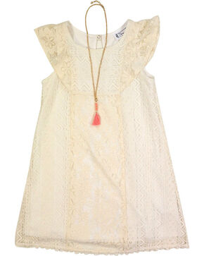 Shyanne Girl's Lace Dress, Ivory, hi-res