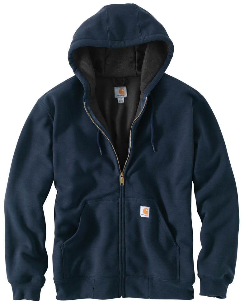 Carhartt Men's Rain Defender Rutland Thermal-Lined Hooded Zip-Front Work Jacket, Navy, hi-res