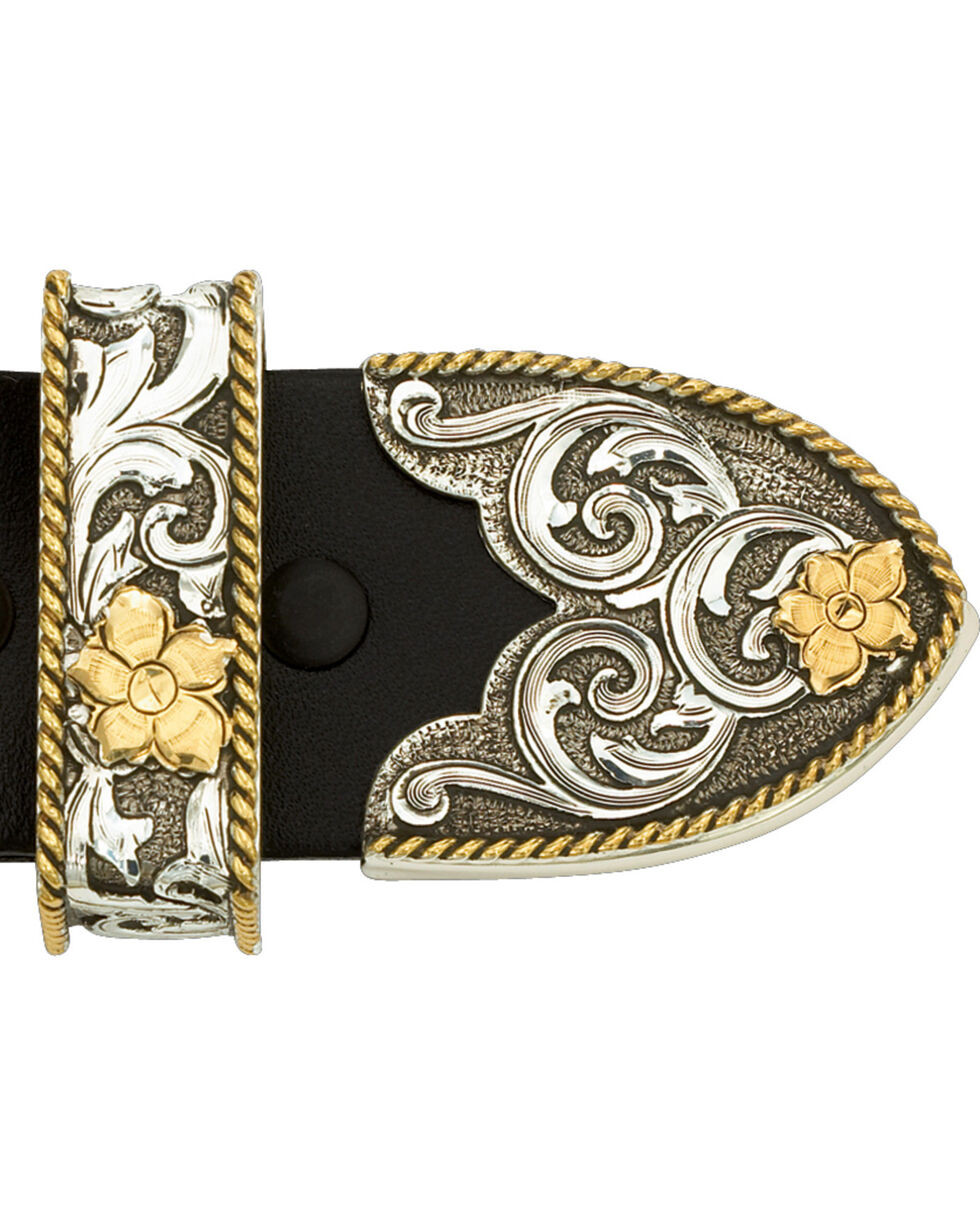 Montana Silversmiths Floral Three Piece Belt Buckle, Multi, hi-res