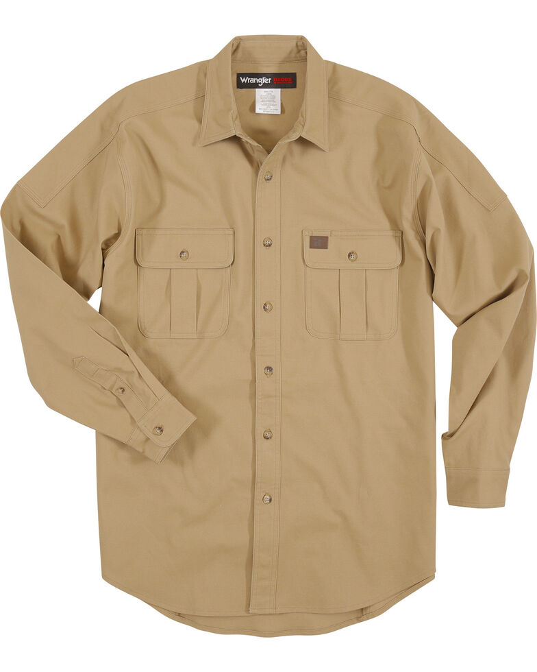 Wrangler Men's Tan RIGGS Solid Workwear Advanced Comfort Long Sleeve Work Shirt , Tan, hi-res