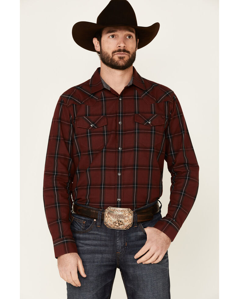 Cody James Men's Horseback Large Plaid Long Sleeve Snap Western Shirt , Burgundy, hi-res