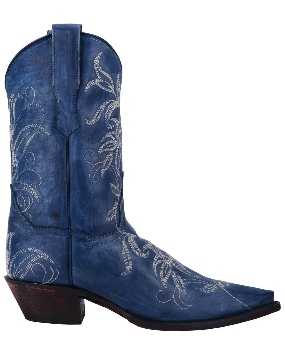 Dan Post Women's Nora Blue Leaf Stitch Boots - Snip Toe , Blue, hi-res