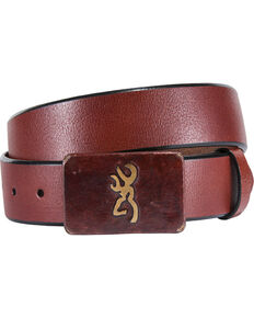 Browning Men's Brass Buckle with Buckmark Leather Belt, Cognac, hi-res
