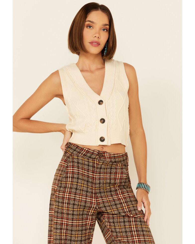 Free People Women's Cream Denson Cable Vest , Cream, hi-res